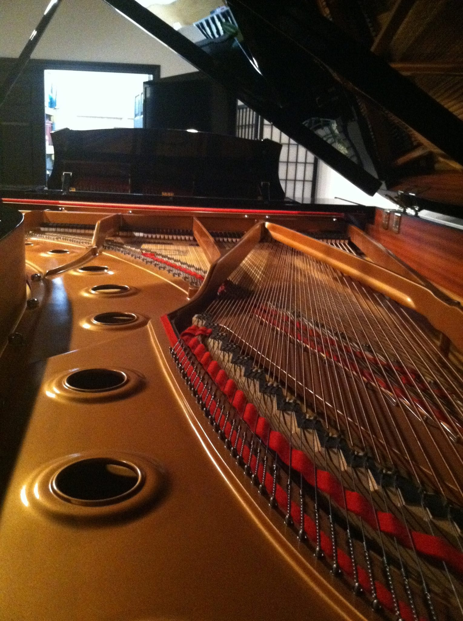 Inside view of a grand piano
