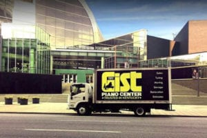 Piano moving truck in front of Kentucky Center for the Performing Arts